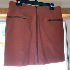 Leather tan skirt